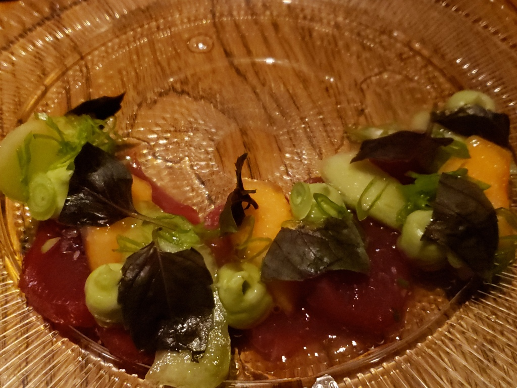Tuna Crudo ~ Rocky Sweet Melon, White Soy Ponzu, Purple Basil