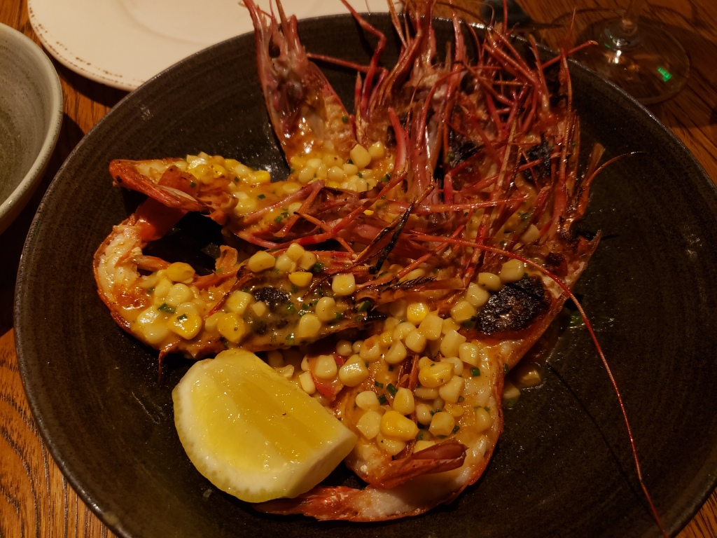 Spot Prawns ~ Corn and Old Bay Butter, Lemon, Chives