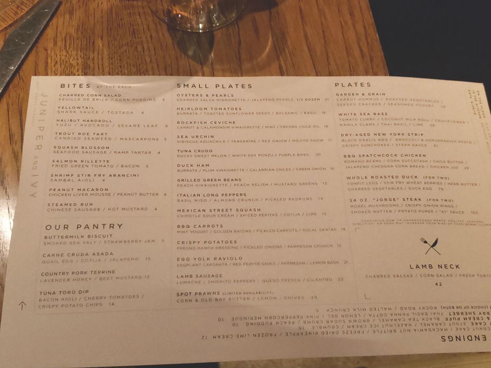 Juniper and Ivy menu